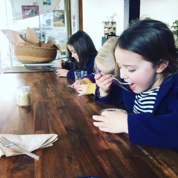Babyccinos and chocolate tarts all round at the cafe at Gecko Studio Gallery in Fish Creek