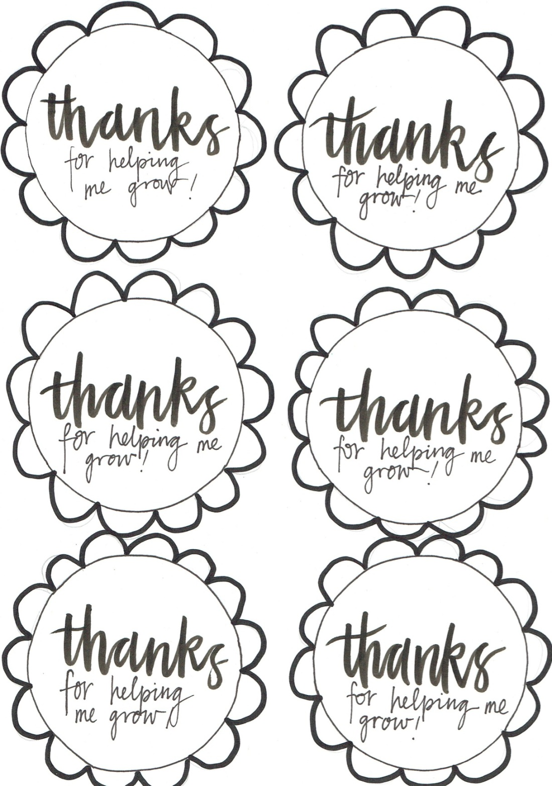Large black line flower tag with the words thanks for helping me grow